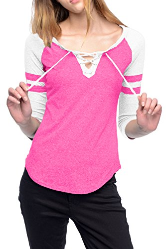 Baseball Womens V-neck (ESONLAR Womens Lace Up Plunge V Neck Workout Space Dye T Shirt Baseball Jumpers Pink M)