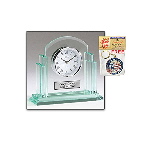 Premium Glass Engraved Clock Personalized Retirement Wedding Anniversary Gift Employee Recognition Service Award