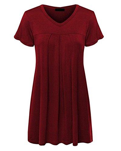 LemonGirl Women V-Neck Pullover Cotton T-Shirt Blouse Tops Wine