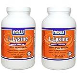 【バリュー2本セット】[海外直送品] NOW FoodsL-リジン 100%ピュアパウダー 454g L-Lysine Powder - 1 lb.
