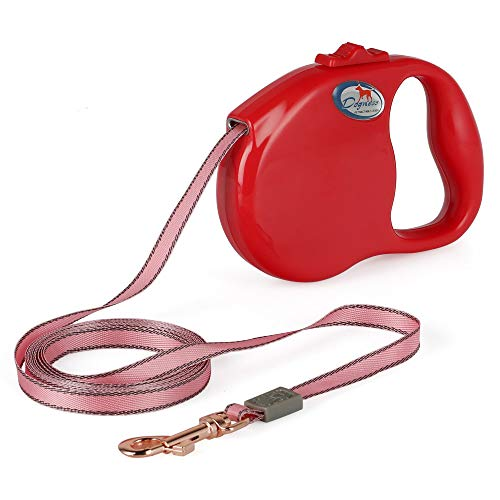 DOGNESS Retractable Dog Leash, the Modern Series, One Button Locking System, Suitable For Kids, No Tangle Waterproof Ribbon Tape, for Small Medium Large Dogs, Red 10 ft by DOGNESS