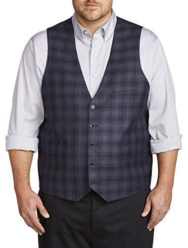 - Oak Hill by DXL Big and Tall Reversible Plaid Vest, Blue, 3XLT