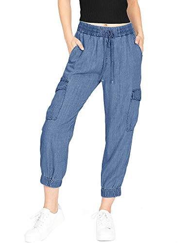 Capri Spandex Tie - Lynwitkui Juniors Casual Cargo Jogger Capris Stretch Drawstring Jeans High Waist Tie Butt Lift Pants with Pockets