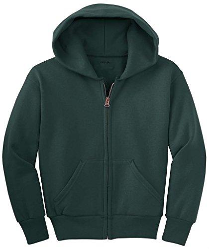 (Joe's USA - Youth Full-Zip Boys Hooded Sweatshirts-DarkGreen-M)