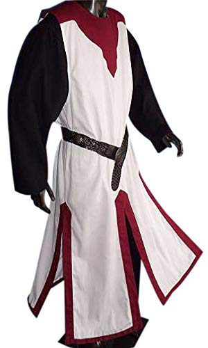Adult Medieval Knight Tunic Sleeveless Surcoat with Strip Reenactment Tabard LARP ()