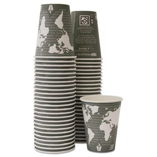 Eco-Products EPBHC12WAPKC World Art Renewable/Compostable Hot Cups, 12 oz, Gray, 50/Pack,10 Packs/CT