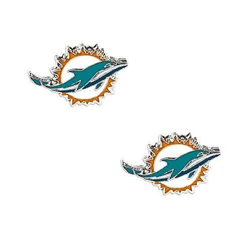aminco Miami Dolphins Post Stud Logo Earring Set Charm (Miami Dolphins Logo Charm)