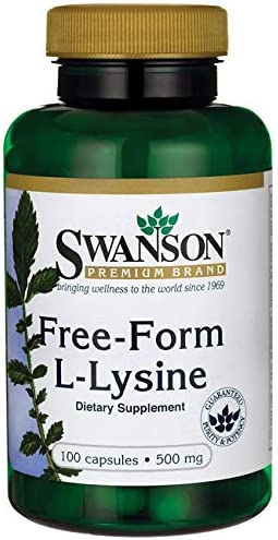 Swanson Amino Acid Free-Form L-Lysine 500 Milligrams 100 Capsules