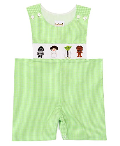 Babeeni Rompers For Boys Feature With Hand-Smocked Starwar Patterns In Lime Green Gingham Fabric (6M) (Smocked Clothes)