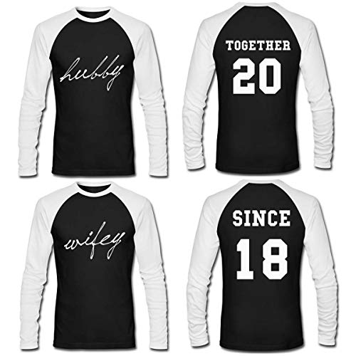 LAUKEXIN Couple Long Sleeve T Shirt Hubby Wifey Since Together Years Custom Anniversary Tees (Women L - Men XL)