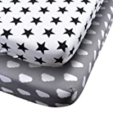 Danha 2pack of Premium Fitted Cotton Crib Sheet With Cloud and Star Print - Standard Crib Mattress Size - Toddler, Kids Bedding- Ideal Baby Shower Gift For Infant Boys Or Girls