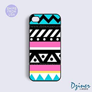LJF phone case iphone 4/4s Tough Case - Turquoise Pink Cute Aztec iPhone Cover