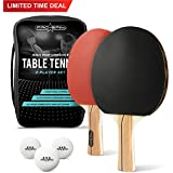 PRO SPIN Ping Pong Paddle Set – Includes 2 Performance Paddles/Rackets, 3 White Table Tennis Balls (3-Star), Premium Storage Case