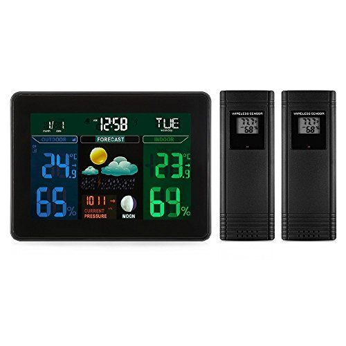 Digital Wireless Weather Station,Indoor / Outdoor Hygrometer Thermometer with 2 Wireless Sensor,Color LCD Display Alarm Clock Calendar Function for Temperature, Humidity, Time, Calendar &Weather (2 Station Lcd Monitor)