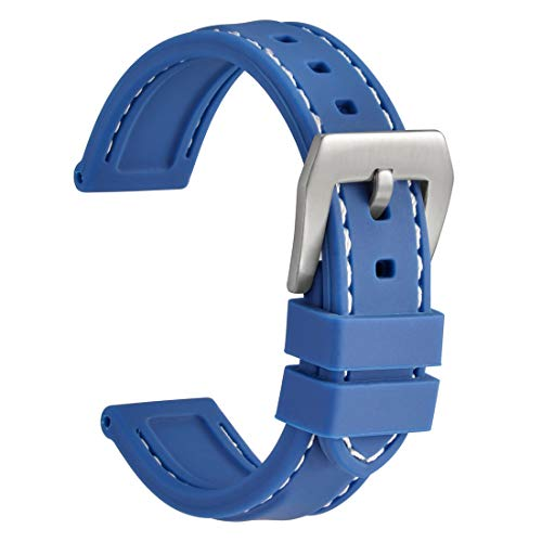 WOCCI Silicone Watch Band 24mm,Sporty Soft Rubber Replacement Straps (Blue with Silver Buckle)