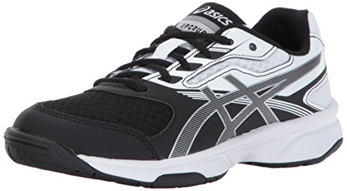 Kids Volleyball Shoes - ASICS Unisex-Kids Upcourt 2 GS Tennis Shoe, Black/Silver/White, 4.5 Medium US Big Kid