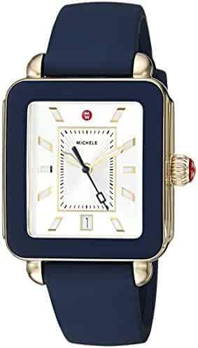 Michele Women's Swiss Quartz Stainless Steel and Rubber Casual Watch, Color:Blue (Model: MWW06K000001)