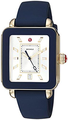 MICHELE Women's Stainless Steel Swiss-Quartz Watch with Rubber Strap, Blue, 18 (Model: MWW06K000001)