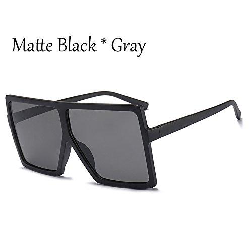 Solar Gafas Mujer Matte Bastidor Negro De Plata Black Gafas C4 C6 Protección TIANLIANG04 Sol Square Grande Enormes De Unas Gray Sol qO8U8XZw