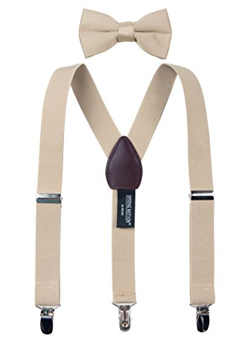 (Spring Notion Boys' Suspenders and Solid Color Bowtie Set Champagne Large)