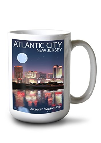 Lantern Press Atlantic City, New Jersey - Skyline at Night (15oz White Ceramic Mug)