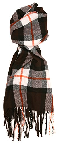 Love Lakeside-Men's Cashmere Feel Winter Plaid Scarf (One, Brown with (Rust Cashmere)