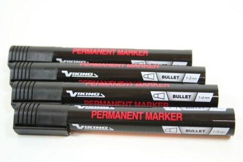 12 Stück VIKING Permanentmarker 1 bis 3 mm SCHWARZ Colli Marker