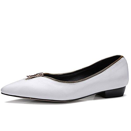 Neuf Sept En Cuir Véritable Bout Pointu Fermetures À Glissière À La Main Chaussures Plates Plaine Nouveau Blanc