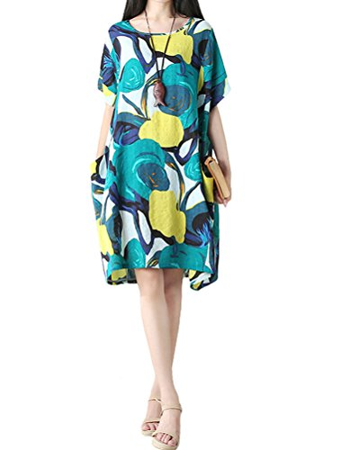 (Mordenmiss Women's Summer Short Sleeve Abstract Printing Dress XL Style 3-Green)