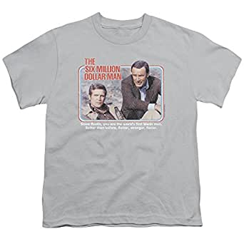 Six Million Dollar Man The First Unisex Youth T Shirt for Boys and Girls - Grey - Large