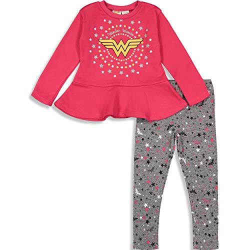 Warner Bros. Wonder Woman Baby Girls' Long-Sleeve Ruffle Tunic & Leggings Set, Hot Pink 18 Months]()