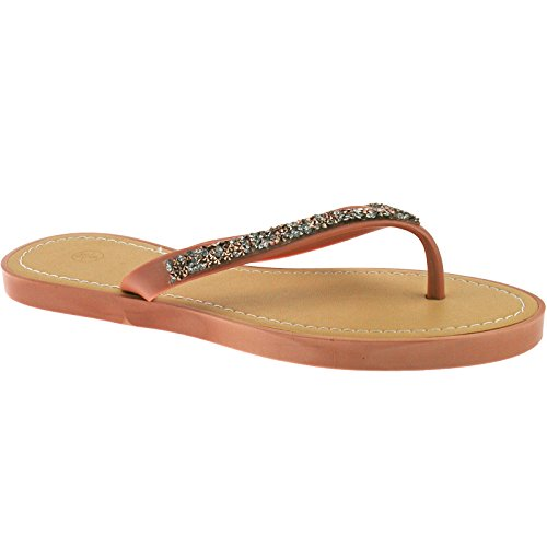 Flip LP3835 4 Ladies Nude UK Casual Size Générique Black Green EU Summer 37 3 8 Flops UK Sandals Nude wIHxqO