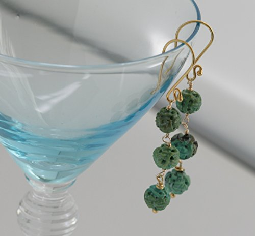 Cascading Dangle (Carved TURQUOISE Cascading Dangle Drop Gold Vermeil Artisan Hand-crafted Earrings)