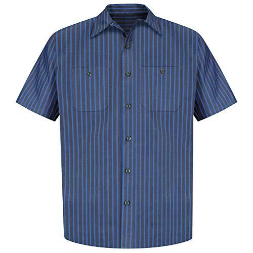 Red Kap Men's Industrial Stripe Work Shirt, Grey/Blue Stripe, Short Sleeve 4X-Large