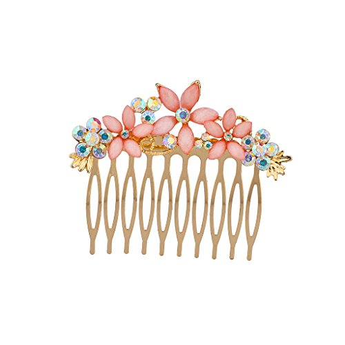 (Lux Accessories Pink Flower Floral Pave Crystal Hair Clip Comb)
