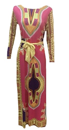 Print Women's African Pattern1 Floral Printed Dress Sleeve Long Comfy Maxi qZwEPEd