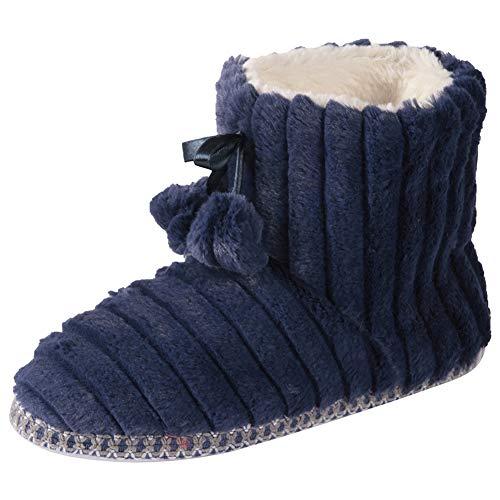 Gohom Women Warm Indoor Slipper Boots Womens Winter Anti-Slip Ankle Booties Slip On Fur Lined House Shoe