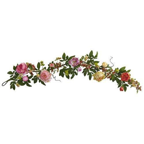 - Nearly Natural Mixed Peony and Berry Garland