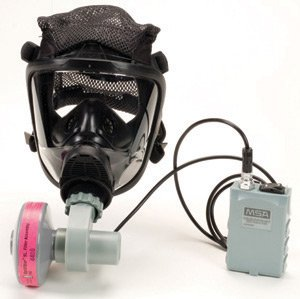 MSA PAPR Assembly For OptimAir® Mask-Mounted Powered Air Purifying Respirator With Rubber Head Harness, Motor, Blower, NiMH Battery, Charger, Cable, He Filter Cartridge And Waist Belt