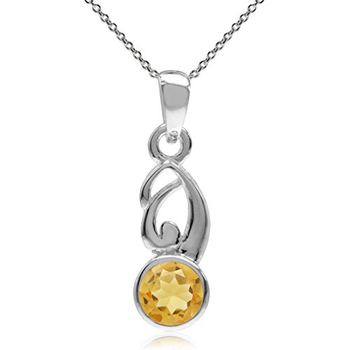 Natural Citrine 925 Sterling Silver Bezel Set Swirl Pendant w/ 18 Inch Chain Necklace