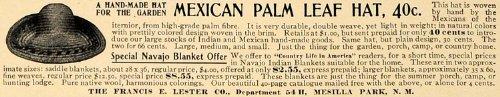 1905 Ad Mexican Palm Leaf Hat Francis Lester Company – Original Print Ad