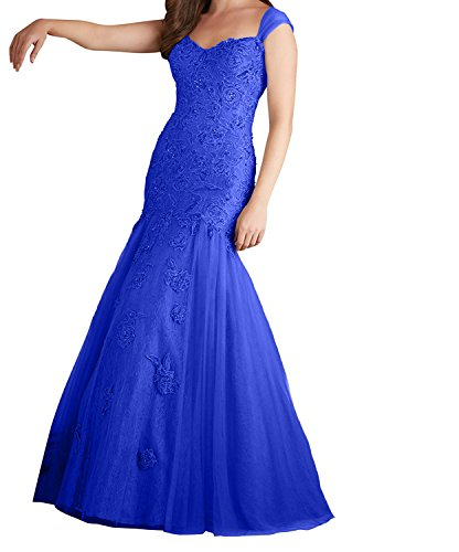 Charmant Promkleider Spitze Grau Royal Meerjungfrau Kleid Traegerkleider Abiballkleider Blau Abendkleider Langes Damen rnFYwf5qxr