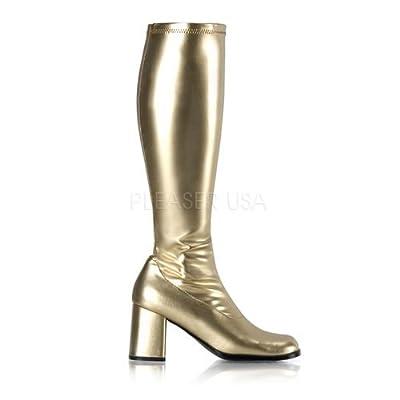FUNTASMA Dancer Stretch Knee High Retro Boot Block Heel GOGO-300 Gold PU-16