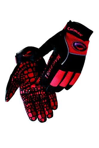 (Caiman 2951-5 Large Multi Activity Glove with Silicone Gator Pattern on Synthetic Leather, Red and Black)