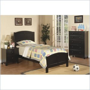 Poundex PDEX-F9208-F4236-F4237 3 Piece Kids Twin Size Bedroom Set in Rich Black Finish