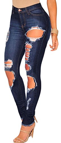 IF FEEL Women Casual Denim Destroyed Ripped Distressed Skinny Jeans ((US 16-18)XL, dark - Bay Locator Store