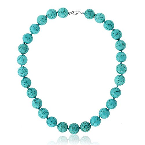 Gem Stone King 16inches Round 14mm Green Simulated Turquoise Howlite Necklace with Lobster Clasp