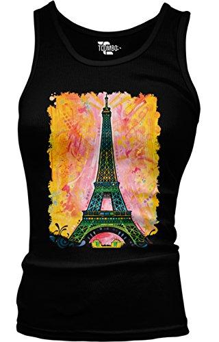 Price comparison product image Tcombo Eiffel Tower - Paris Girls/Juniors Tank Top T-shirt (Large, Black)