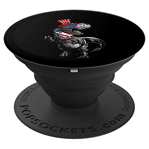 American Stars Stripes T-Rex 4th of July Awesome USA Gift - PopSockets Grip and Stand for Phones and Tablets ()