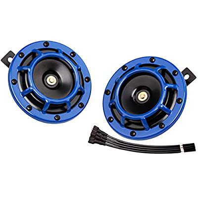 FARBIN Eletric Car Horn Super Tone 12V High Tone/Low Tone Metal Twin Horn Kit with Protective Grill (Blue): Automotive